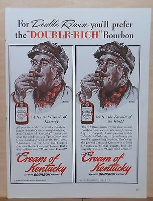 1940 magazine ad for Cream of Kentucky Bourbon -Norm Rockwell art, Double Rich