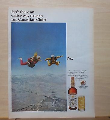 1971 magazine ad for Canadian Club Whisky - Sky Divers over Bishop California