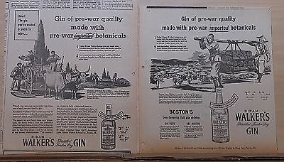 Two 1945 newspaper ads for Walker's Gin - Orris root from Italy, Chinese Cassia