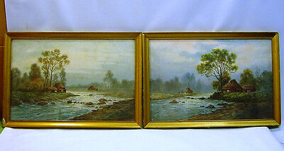 * Pair of Antique 1800's Scottish Watercolos, Landscapes w. Riverside Houses
