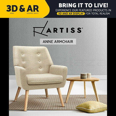 ANNE Armchair Tub Dining Chair Wooden Accent Sofa Lounge Padded Fabric Beige
