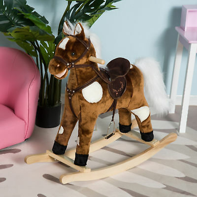 Kids Ride On Rocking Horse Pony Toy Plush Girls?Gift Moving Mouth & Tail w/Song