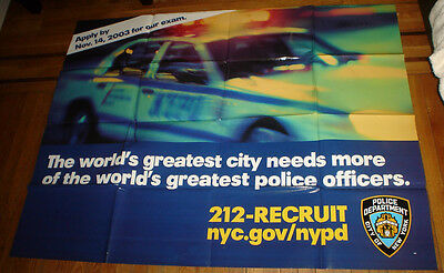 Nypd 2003 Subway Recruitment Poster Rare Police