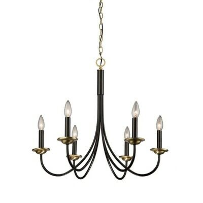 Artcraft Wrought Iron 6-Light Chandelier in Black & Vintage Brass - AC1786VB