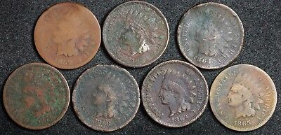7 - Indian Head Cents.  1859, 1862, 1864, 1865, 1866, 1867, 1874.  118078
