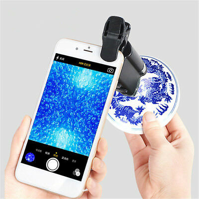 60X-100X UV Magnifier Microscope LED Cellphone Digital Clip Pocket Zoom Jewelry