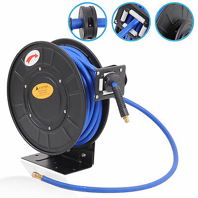 "WALL MOUNT 3/8"" 50ft 15m AUTO REWIND RETRACTABLE AIR TOOL GARAGE HOSE LINE REEL"