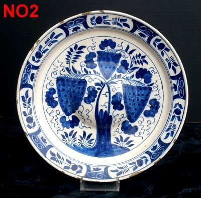 Delft Grand Plat Faience Ombilic Xviiieme Decor Bleu Blanc Dutch Plate Blue No2