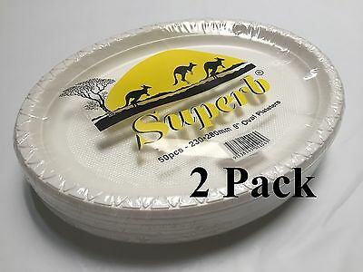 """100pcs Party Plastic Disposable White 9"""" Oval Plates 230 x 280mm 100% Brand New"""