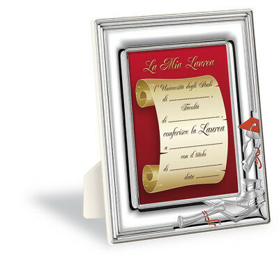 """925 Sterling Silver """"Graduation"""" Photo Frame Made in Italy  NEW"""