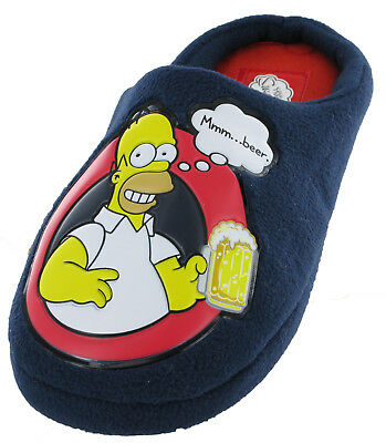 5868377c235a Simpsons Homer Velour Mule Slippers Novelty Mens Slip On Warm Fun Navy  Character