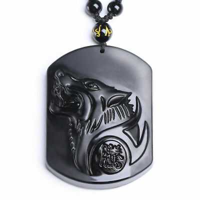 Chinese natural obsidian hand carved Wolf head lucky pendant+Beads Necklace k