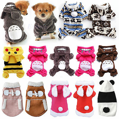 Pet Dog Fleece Warm Clothes Hoodie Coat Jacket Puppy Cat Apparel Sweater Jumper