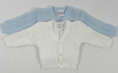 Baby Babies Boys Girls Button Up Cardigan White Blue Knitted V Neck NB 3 6 M 506