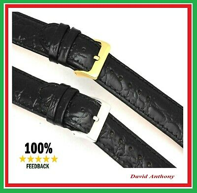 "18mm BLACK LEATHER WATCH STRAP, XL or LONG OPEN ENDED GENTS ""BEST SELLING STRAP"""