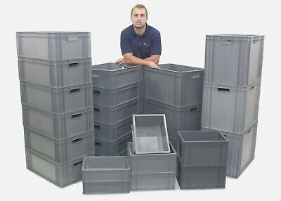 NEW Strong Grey Industrial Quality Plastic Containers Storage Boxes Box Crates