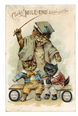 CLARK'S, Victorian Trade Card, 278, Mile-End Thread, Cats, Cat