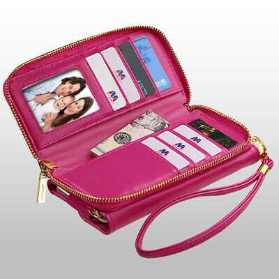 Posh Pink Leather Zipper Wallet Credit Card Case fits iPhone 6 Plus