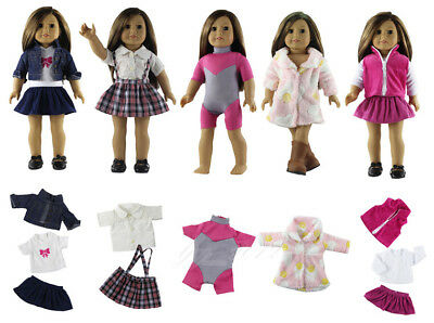 "Hot 5 Set Doll Clothes Outfit for 18"" American Girl Doll Handmade Clothing Dress"