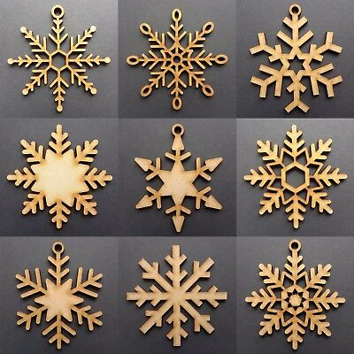 Wooden Christmas Snowflakes Tree Decorations Craft Hanging Bauble Blank Shapes