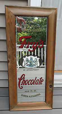 "Vintage Fry's Chocolate Advertising Mirror Framed 32"" x 14.25"" Queen Alexandra"