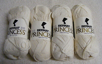 VINTAGE BERNAT 100% COTTON YARN-COLOR NATURAL WHITE-Lot of 4 SKEIN'S- 1.75 OZ.E