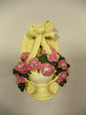 Vintage 1920 Cast Iron Basket of Pink Roses Yellow Door Knocker Hubley #124 MINT