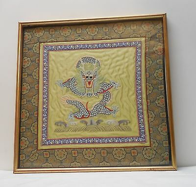Silk and Textile Dragon Picture Art Wood Frame Vintage Hand Sewn Stitched