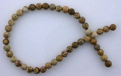4mm Round Gemstone Gem Stone Picture Jasper Beads 7 Inch Strand