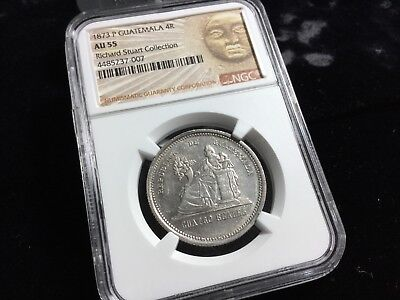 NGC AU 55 GUATEMALA 1873 P 4 REALES RICHARD STUART COLLECTION u_02062