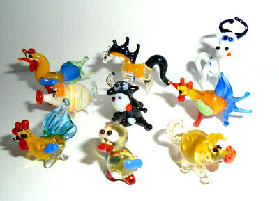 Miniature Art Glass, Murano Sculpture, Blown Glass Figurine Set Animals #20