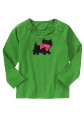 NWT Gymboree Girls Cheery All The Way Green Scottie Top Size 3 4 5 & 6