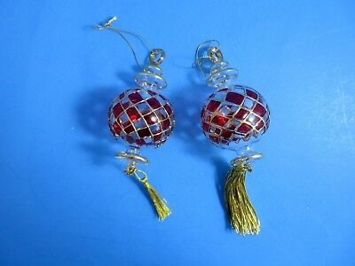 Pair Of Elegant Blown Glass Ornaments Red Clear & Gold With Tassels