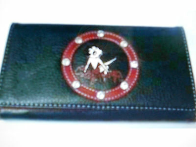 Betty Boop Leg Up With Rhinestones Trifold Black Checkbook Wallet New