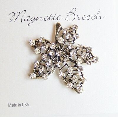Magnetic Brooch Clip Clasp Pin Gold Tone Crystal Stone Leaf Design Scarves Shawl