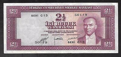 Turkey - Old 2 1/2 Lirasi Note (1952)  P150a - VF+