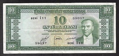 Turkey - Old 10 Lirasi Note (1951)  P156 - F/VF