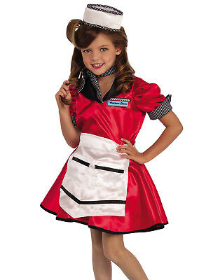 ff54ff46e0b7 1950'S CHECKERS DINER Girl Waitress Child Decades Halloween Costume ...