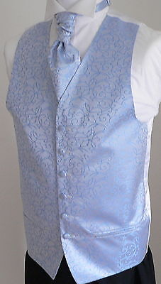 Pale Blue Scroll Men's/Boys' Wedding Waistcoat & Cravat Set