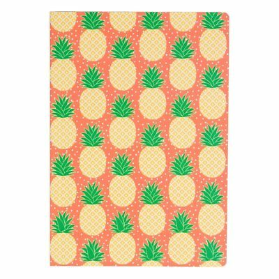 Sass and Belle A5 sized Notebook - Tropical Pineapple design, Plain paper