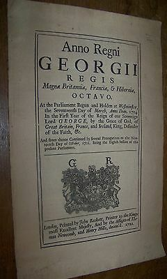 1722 Antique Prevention of Smuggling Piracy British Act of Parliment Document