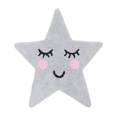 Sweet Dreams Grey Star Fabric Rug - Perfect For Children's Rooms