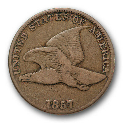 1857 Flying Eagle Cent Fine F US Coin Snow 9 Clashed With 50c #10641