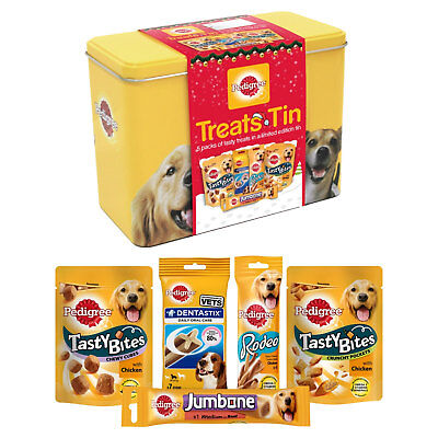 Pedigree Christmas Gift Tin Of Dog Treats Festive Xmas Stocking Filler