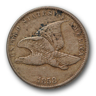 1858 Cent Flying Eagle Very Fine to Extra Fine Small Letters SL 1c US Coin #6526