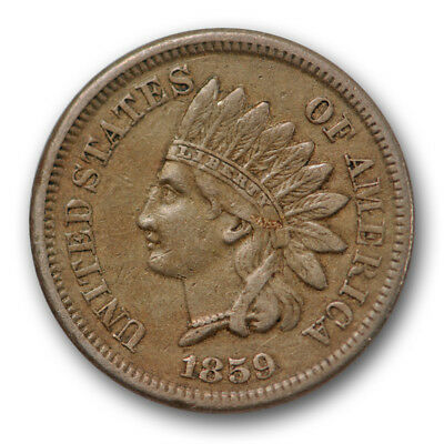 1859 Indian Head Cent Extra Fine XF Original Full Liberty US Coin #7412