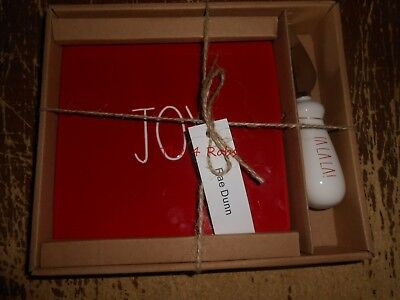 Rae Dunn Red Joy Cheese Tray & Knife