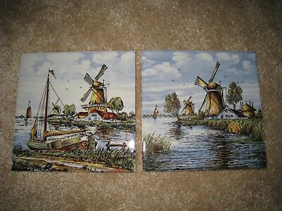 Vintage painted ceramic tiles - Delft Holland - canal windmill boat 15cm