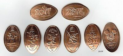 Complete set of 8 2017 dated elongated pennies from Disney World pressed coins