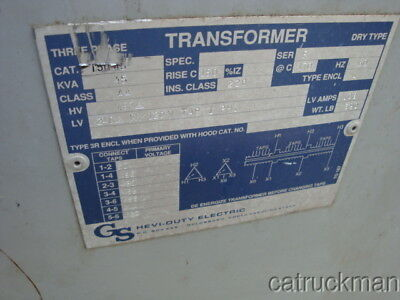 GS Hevi-Duty 45 KVA, 3 Ph.,  Transformer  438 to 504 V in 240V Out